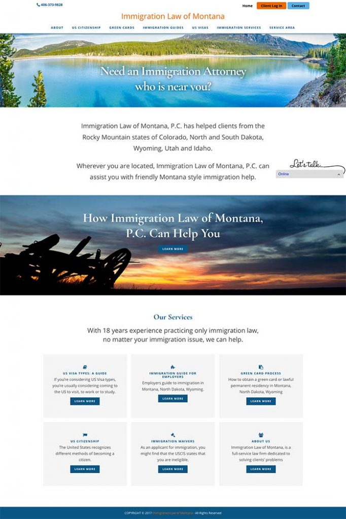 Immigration Law of Montana web redesign